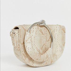 ASOS snakeskin tan clutch